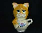 Orange Kitty-in-a-Cup Gourd Figurine