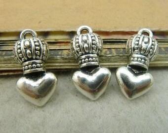 20PCS antique silver 6x9x17mm crown heart charm pendant- WC4975