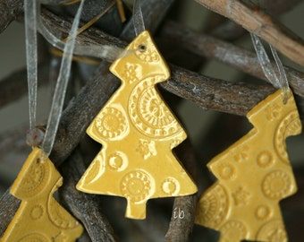 Christmas Ornaments Yellow Lace Christmas Tree Ceramic  Winter Home Decoration Gift Set of 3