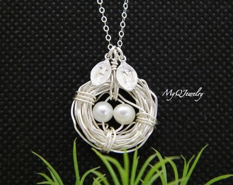 Mother Day Gift, Personalized Mother Necklace, Bird Nest Necklace, Tree of Life Mother Necklace, Grandmother Jewelry Gift, Mom Necklace