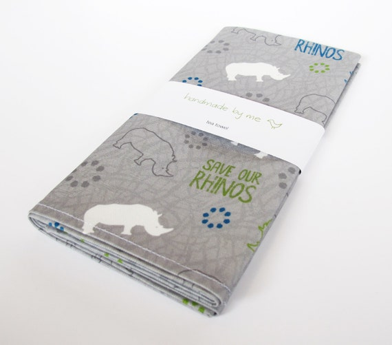 SAVE OUR RHINOS tea/dish towel (10% of this purchase will go to Forever Wild Rhino Fund)