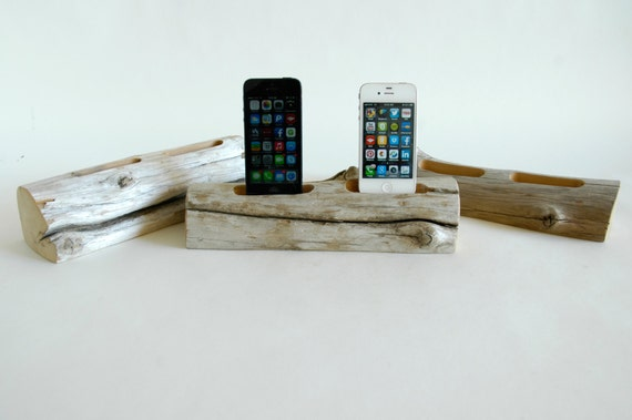 Driftwood Docking Station For Two Smart Phones By Docksmith