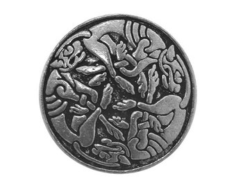 2 Beastie 13/16 inch ( 21 mm ) Pewter Buttons