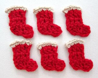 "1pc 2.25"" Crochet SANTA BOOT Applique"