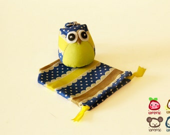 Bee - Owl Doll, owl plush, animal doll, animal plush, with a Bag, plush, keychain, yellow, children, poka dot, blue, baby, boy, girl, kid