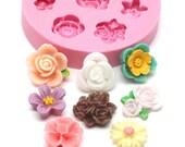 Mini Flower Set of 8 x 10mm Bakery Flexible Mold Cabochon Mold Silicone Mold Flexible Mold Food Safe Mold Resin Mold 370L* BEST QUALITY
