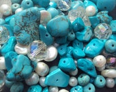 50% OFF SALE Turquoise Freshwater Pearl Gemstone Bead Sampler 6-30mm Set 50 Pieces Agate, Quartz, Moonstone, White
