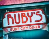 Ruby's Surf City Diner Sign -  California Sign Photography Print photo