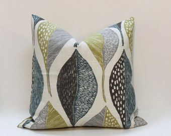 Designer pillow cover. Modern leaf linen-like pillow. grey, citron, teal pillow cover home decor accent