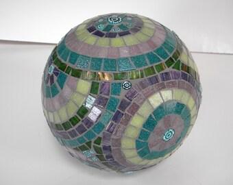 Purple Teal and Green Mosaic Gazing Orb/Gazing Ball