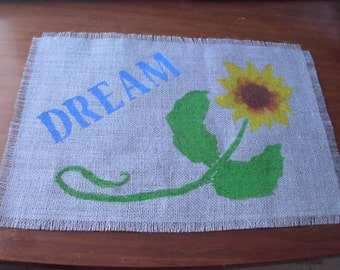 Sunflower or other flowers and Inspirational Word Burlap Placemat