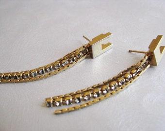 Zipper Look Vintage Stud Earrings - Vintage Posts - Goldtone Chandeliers - Collectible Jewelry
