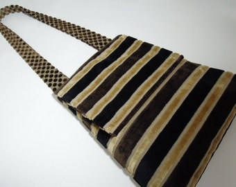 Messenger Bag / Cross Body Bag, Handmade from Upholstery Fabric with a Striped Chenille Velvet pattern, a Flap and a Unique Polka Dot Strap