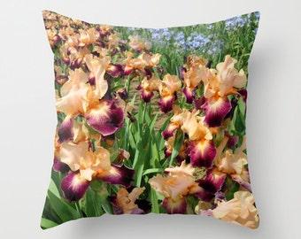 Peach iris photo pillow cover