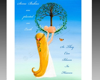 Mother and Baby Tree of life Heaven lost of a child saying quotes religious spiritual poem girl woman butterfly home living framable print