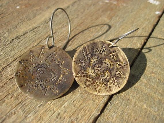 Brass Flower Stamped Earrings