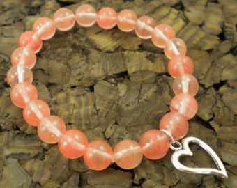 Silver Plated Heart and Simulated Cherry Quartz Stretch Bracelet / B13 / Gifts under 20 / Valentine