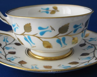 Teacup And Saucer Royal Chelsea Aqua Enamel Gold Leaves England 1950s