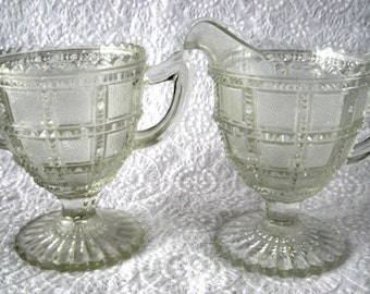 Imperial Beaded Block Cream And Sugar Clear EAPG Frosted Block 1920s