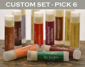 Lip Balm - Pick any 6 flavors - fruit lip balm - bakery lip balm - sweet lip balm - mint lip balm - food lip balm - gift lip balm
