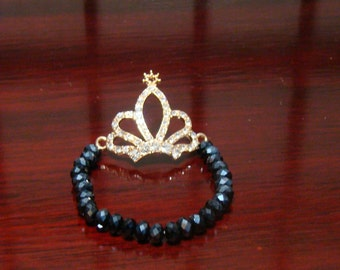 300E,Crystal Rhinestone Crown Bracelet