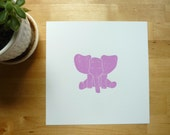 Baby animal art print Jack the Elephant in Pink/Purple, nursery wall decor