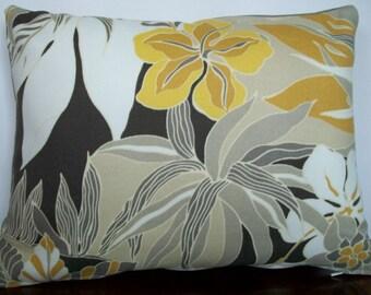 Tropical flower lumbar pillow cover