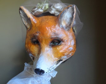 Halloween masks Paper mache fox mask fox costume, Fancy Dress