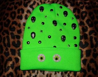 Alien Skeleton Neon Green Beanie Hat