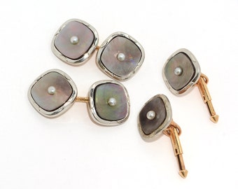 Antique 1930's 14k Yellow & White Gold Abalone and Pearl Tuxedo Set