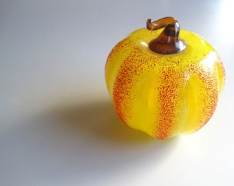 Pumpkin, Handmade Glass Pumpkin, Collectible Vintage Glass, Decor Home, Housewarming Gift, Home Decoration Glass, Thanksgiving, Halloween