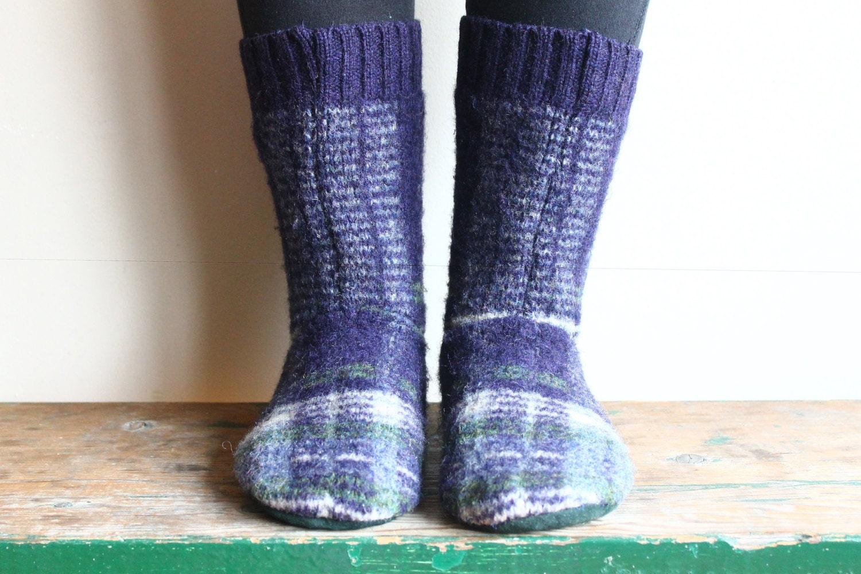 Women 39 s felted wool slippers cabin socks by thereclaimedewe for Warm cabin socks