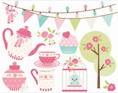 Clipart - Tea Garden (1) / Tea Set / Ballet Tea Party - Digital Clip Art (Instant Download)