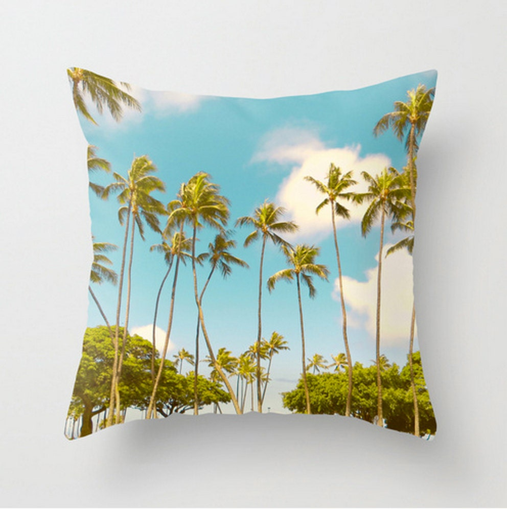 Decorative Pillow Palm Tree : Palm Tree Throw Pillow Cover Hawaii Pillowcase by EynePhotography