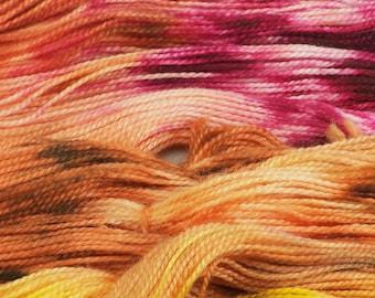Hand Dyed Yarn Merino Red Orange Gold Yellow Maroon Superwash Wool 2415