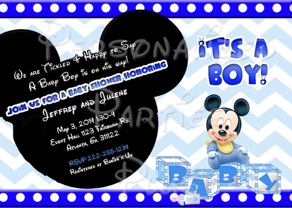 baby mickey mouse baby shower invitation downloaded by partiesplus