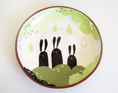 Ceramic Plate - Terracotta Plate - Pottery Plate - Three Bunnies - MADE TO ORDER