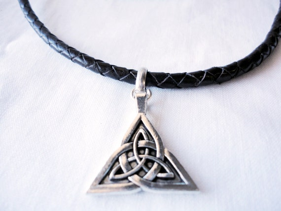 celtic mens necklace braided leather and magnetic zamak