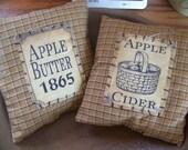 Set of 2 Primitive Fall Harvest Pantry Label Pillow Tucks Bowl Fillers