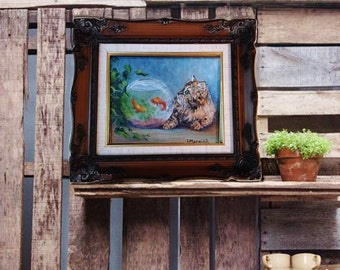 Goin' Fishing, Original oil painting by Linda Maravich, 8 x 10 frame included, tortoise shell cat by fish bowl, for the cat lover