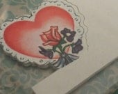 8 Vintage NOS Heart Romantic Place Cards Unused