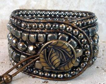 "Pyrite Handmade Beaded Leather 7"" Cuff Style Single Wrap Bracelet"