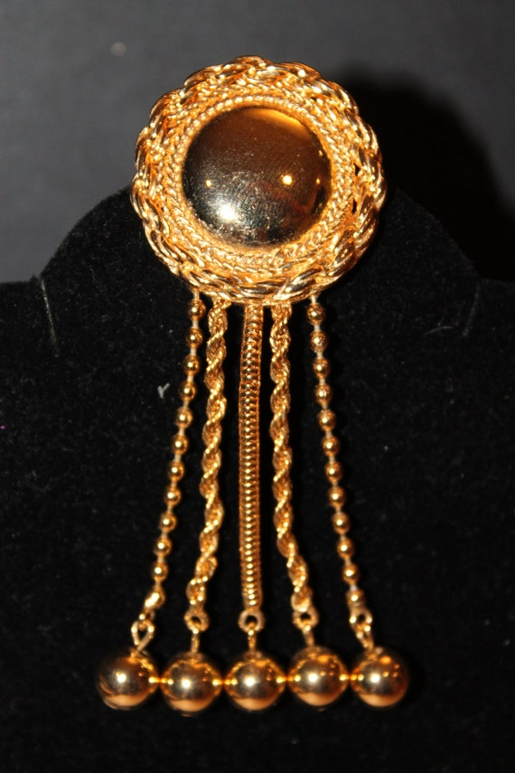 Vintage Gold round mirror with tassels and chains brooch by Liz Claiborne