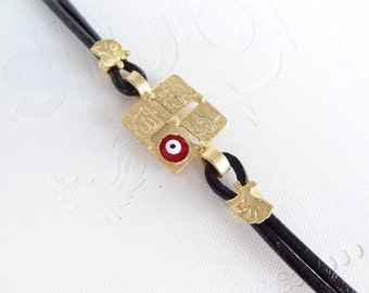 Black Leather Bracelet,  Gold Bracelet, Arabian Style Bracelet, Luck Evil Eye Bead Bracelet