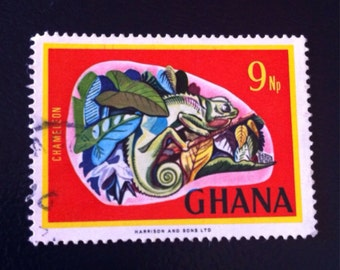 Ghana Chameleon 1967 Postage Stamp // As RARE as it is Gorgeous// Philately // DIY Supply //Stamp Collector's Dream