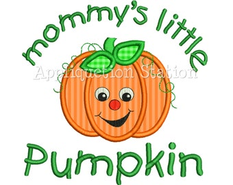 Mommy's Little Pumpkin Smiley Face Applique Machine Embroidery Design orange harvest thanksgiving fall INSTANT DOWNLOAD