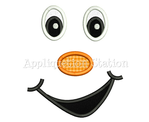 Face Cheeky Grin Smile Applique Machine Embroidery Design Pumpkin ...