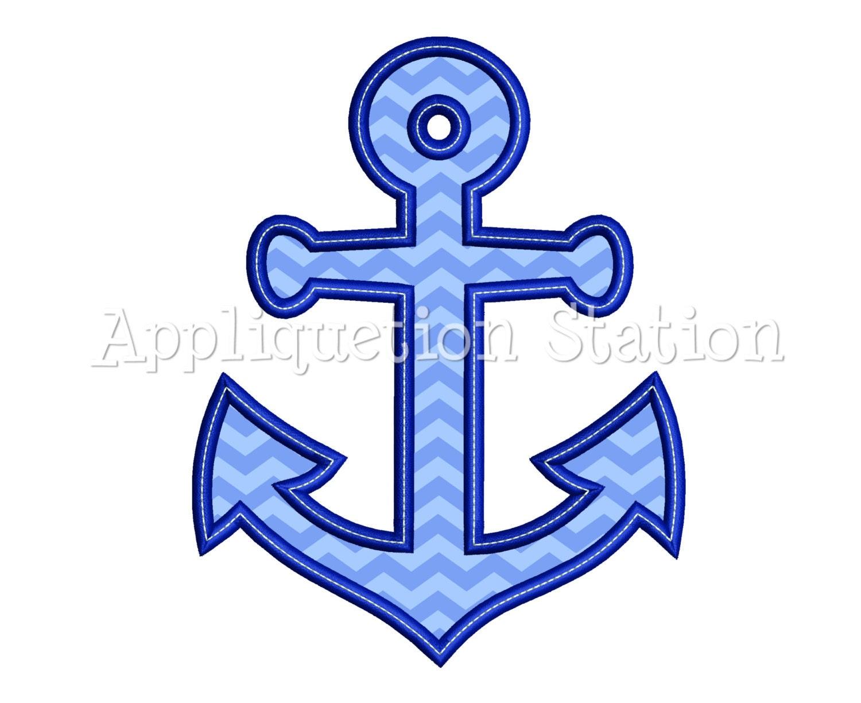 Anchor applique machine embroidery design nautical ocean