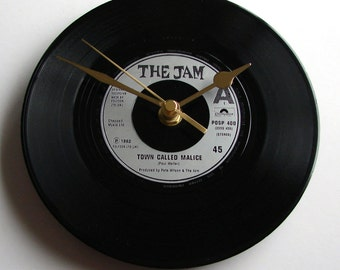 """THE JAM Vinyl Record CLOCK Pick your favourite song!  A recycled 7"""" vinyl record Gift for men women British post punk mod Paul Weller fans"""