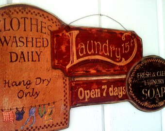 Laundry Room Sign , Clothes Washed Daily , Press n' Fold,  Primitive, Plaque, Picture,  Handmade